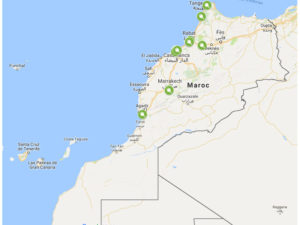 Map des bornes de recharge Maroc